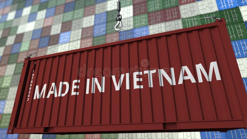Recipiente da carga com FEITO no subtítulo de VIETNAME Rendição 3D relacionada vietnamiana da importação ou da exportação ilustração do vetor