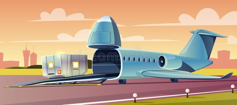 Recipiente da carga no vetor dos desenhos animados do avião da carga ilustração stock