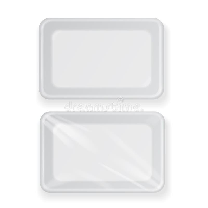Recipiente de alimento plástico vazio branco Empacotando para a carne, os peixes e os vegetais ilustração royalty free