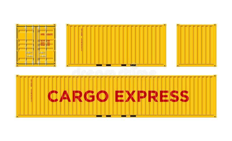 Recipiente de carga amarelo do transporte para a logística e transporte isolado na ilustração branca do vetor do fundo fácil muda ilustração do vetor