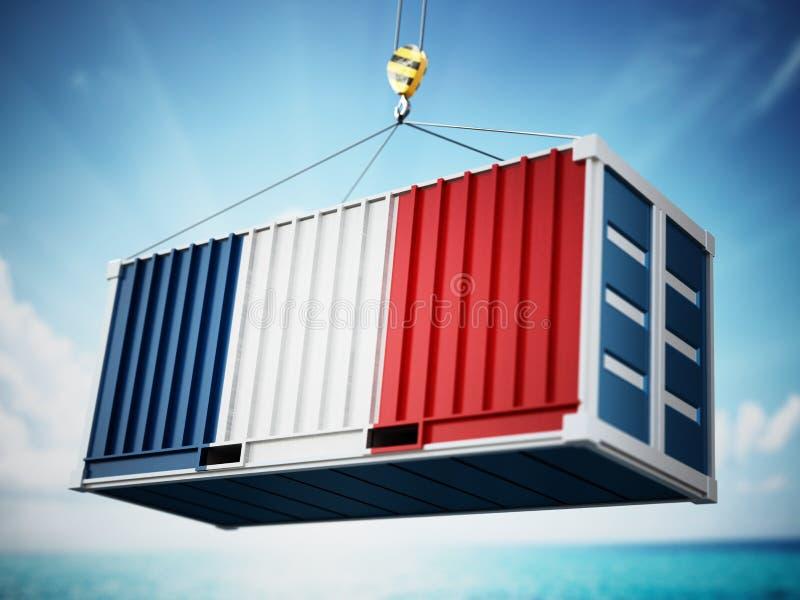 Recipiente de carga com a bandeira de França contra o céu azul ilustra??o 3D ilustração royalty free