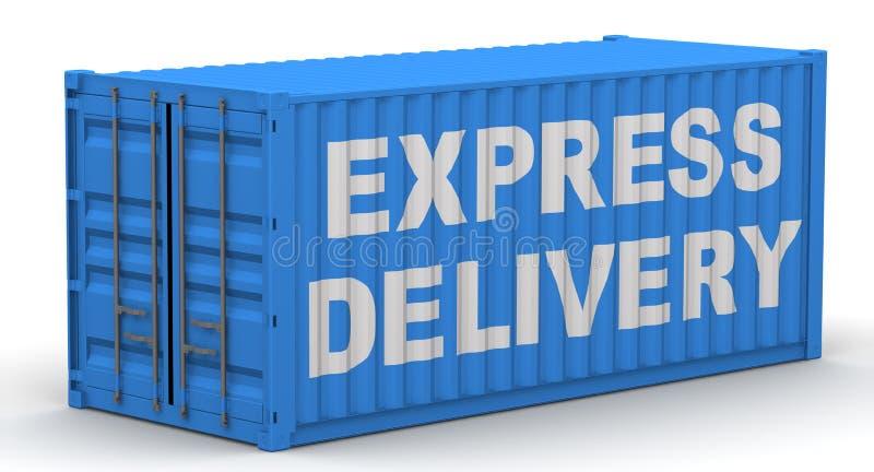 Recipiente de carga etiquetado com a ENTREGA EXPRESSA da palavra ilustração stock