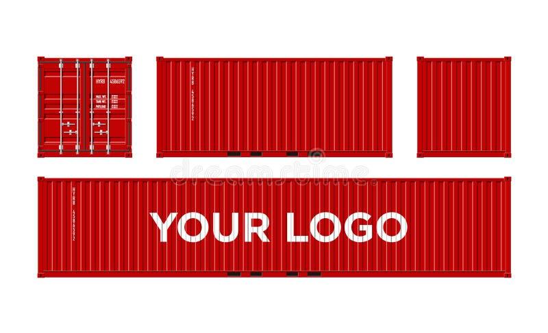 Recipiente de carga vermelho do transporte para a logística e transporte isolado na ilustração branca do vetor do fundo fácil mud ilustração royalty free