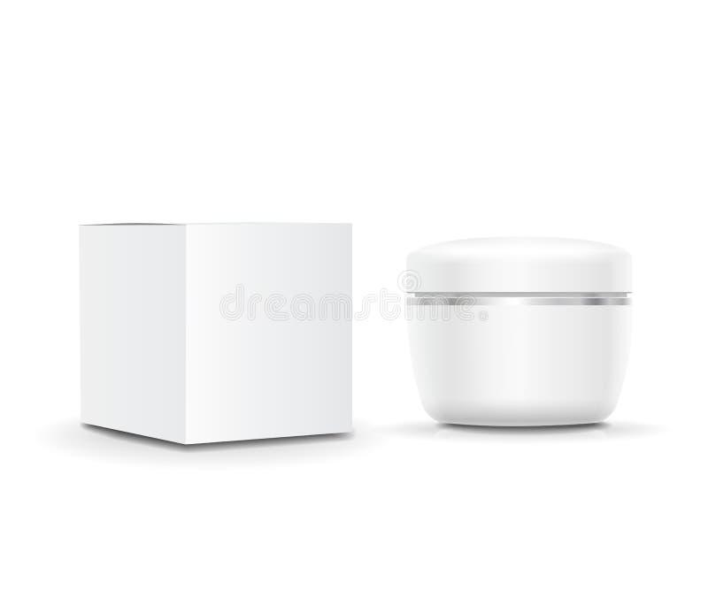 Recipiente de creme de creme cosmético vazio branco e empacotamento Ilustração do vetor ilustração do vetor