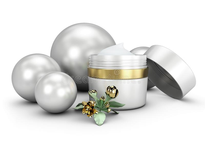 recipiente de creme elegante da ilustração 3D com esfera, molde cosmético da garrafa para o creme ou gel ilustração royalty free