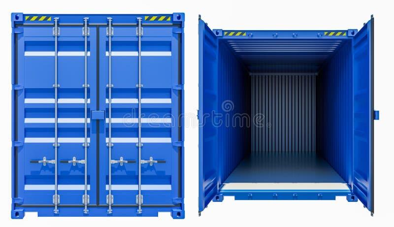 Recipiente de frete azul da carga, aberto e fechado ilustração stock
