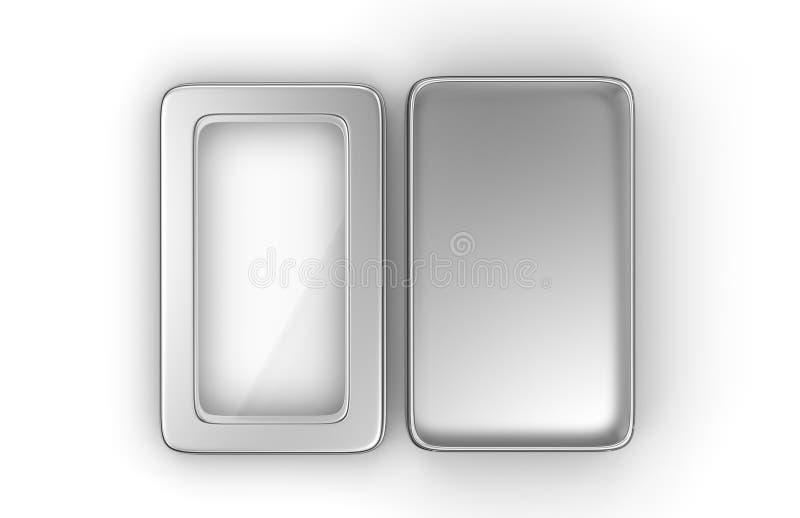 Recipiente de prata brilhante de aço inoxidável ou da lata do metal da caixa com a tampa da janela no fundo branco para o DES asc ilustração do vetor