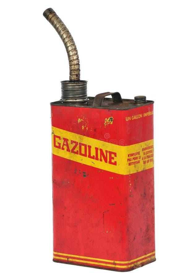 Recipiente do combustível do vintage, texto em francês fotografia de stock royalty free