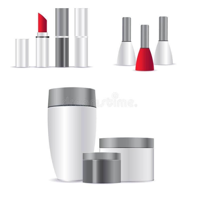 Recipiente e tubo de creme cosméticos brancos realísticos para o creme, pomada, dentífrico, zombaria da loção acima da garrafa ilustração do vetor