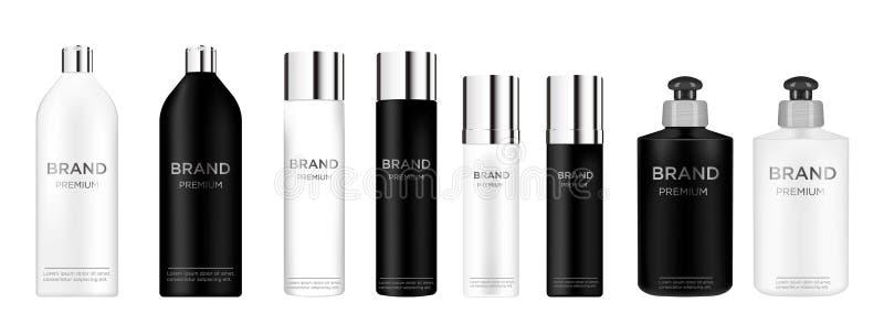 Recipiente e tubo de creme cosméticos pretos realísticos para o creme, pomada, dentífrico, zombaria da loção acima da garrafa ilustração do vetor