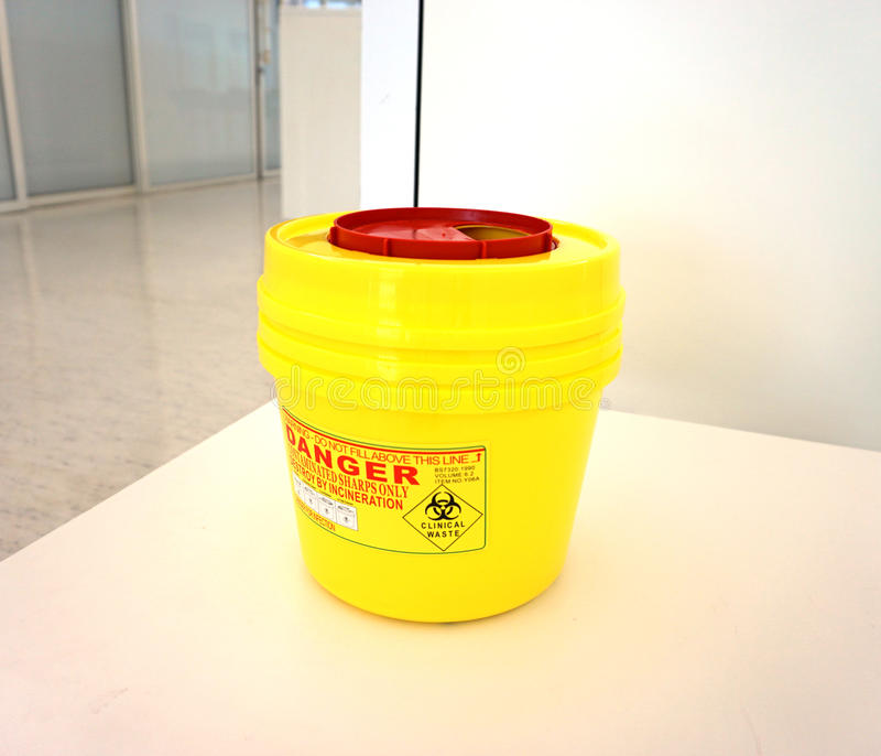 Recipiente médico do Biohazard fotografia de stock