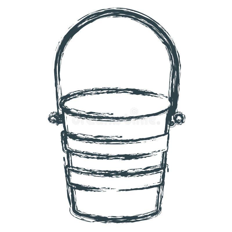 Recipiente metálico borroso del cubo de la silueta oscura azul ilustración del vector