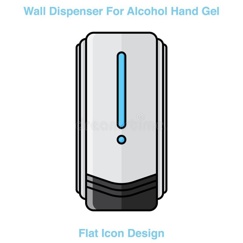 Recipiente para lavado manual en pared Protección contra gérmenes como el diseño de iconos coronavirus Covid-19 ilustración del vector