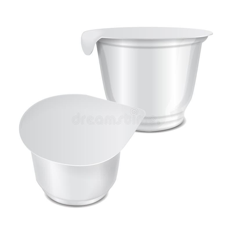 Recipiente plástico branco redondo com película de plástico e tampa para produtos láteos, iogurte da folha, creme, sobremesa, doc ilustração stock