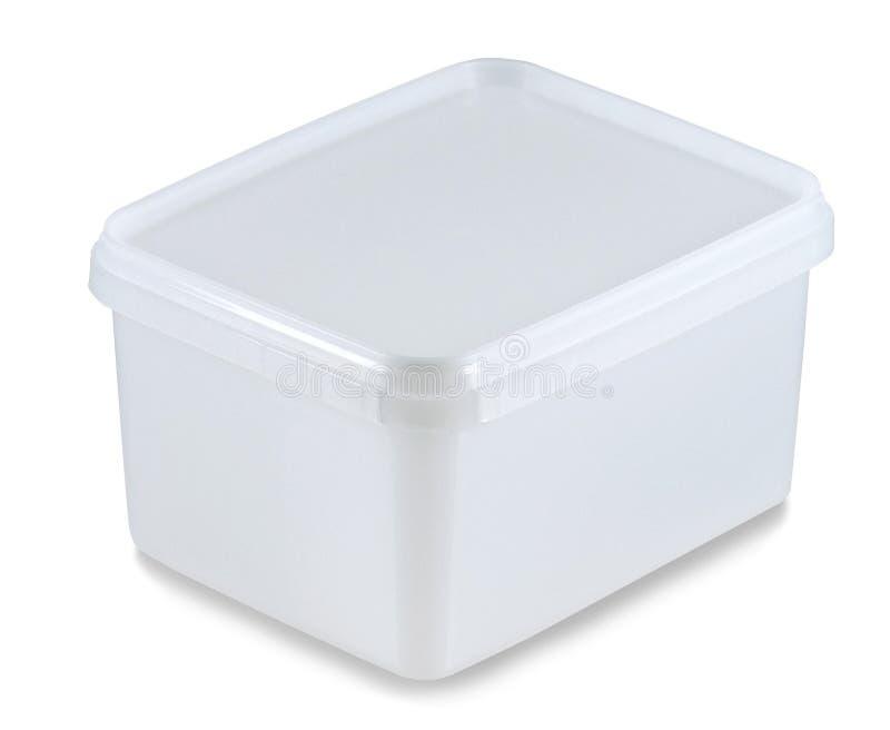 Recipiente plástico branco (trajeto de grampeamento) foto de stock royalty free