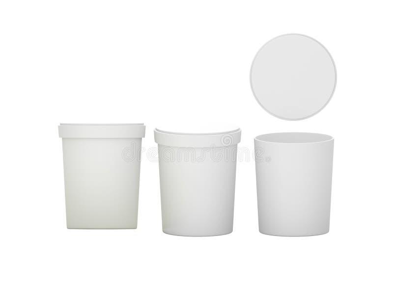 Recipiente plástico da cuba branca que empacota com trajeto de grampeamento ilustração stock
