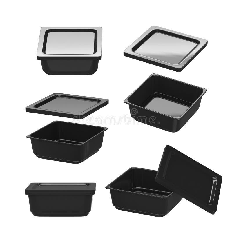 Recipiente plástico de quadrado preto para a produção alimentar com grampeamento imagem de stock