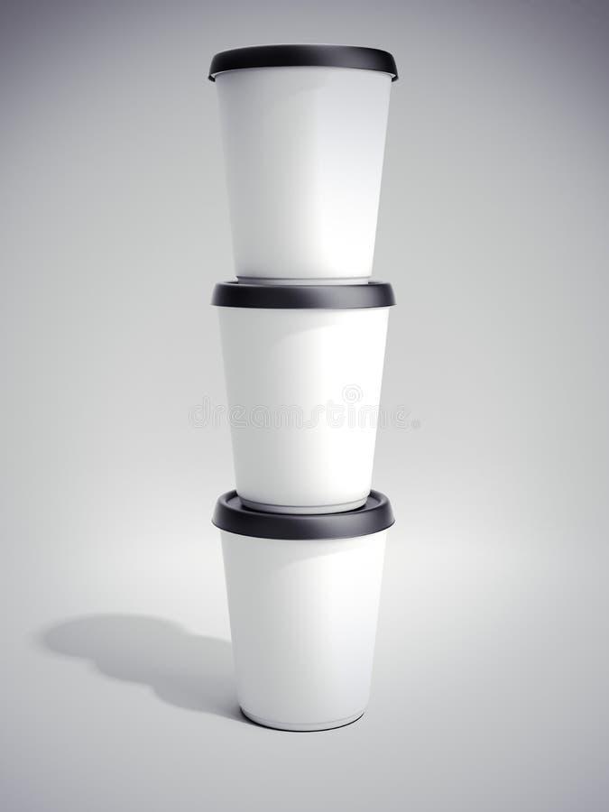 Recipiente plástico do alimento branco rendição 3d ilustração stock
