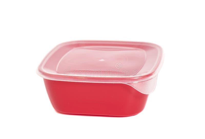 Recipiente plástico do alimento vermelho fotos de stock royalty free