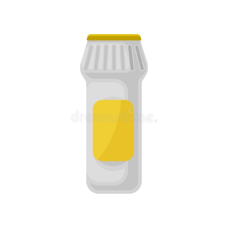 Recipiente plástico do pó detergente, agregado familiar que limpa a ilustração do vetor do produto químico em um fundo branco ilustração stock