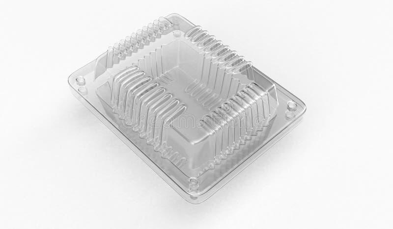 Recipiente plástico para o alimento 3d rendição 3d ilustração stock