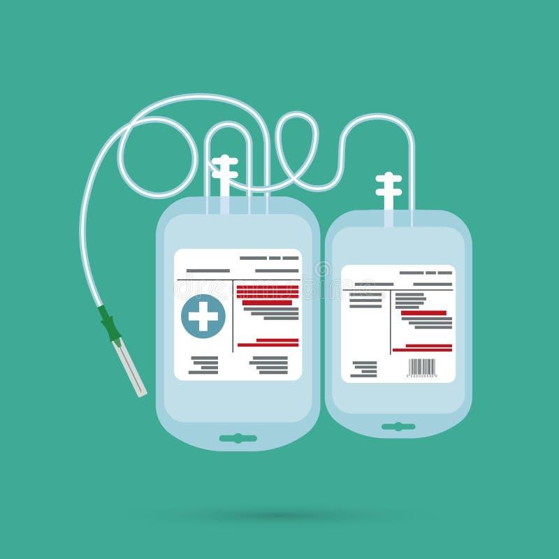 Recipiente plástico vazio para o plasma e o sangue ilustração royalty free