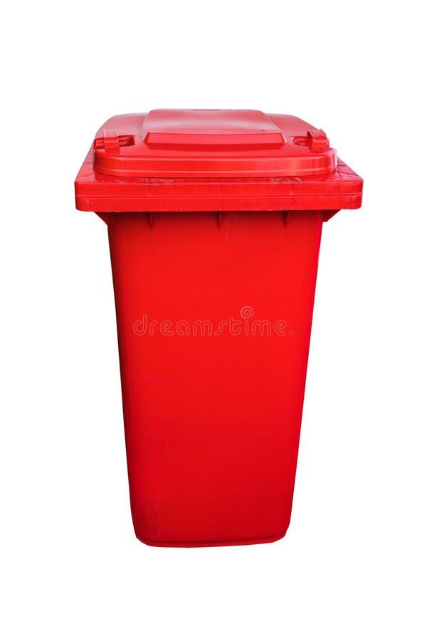 Recipiente pubblico di plastica dei rifiuti o della pattumiera isolato su bianco, clipp fotografia stock libera da diritti