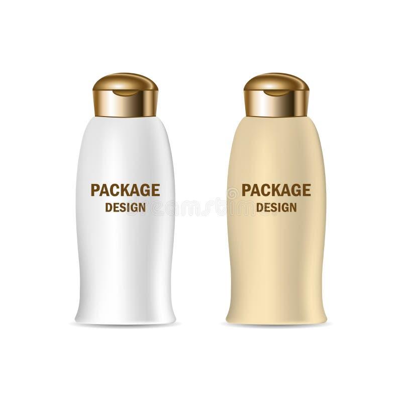 Recipiente realístico lustroso plástico do frasco do modelo do vetor 3d para o creme de embalagem, champô, produtos dos cosmético ilustração royalty free