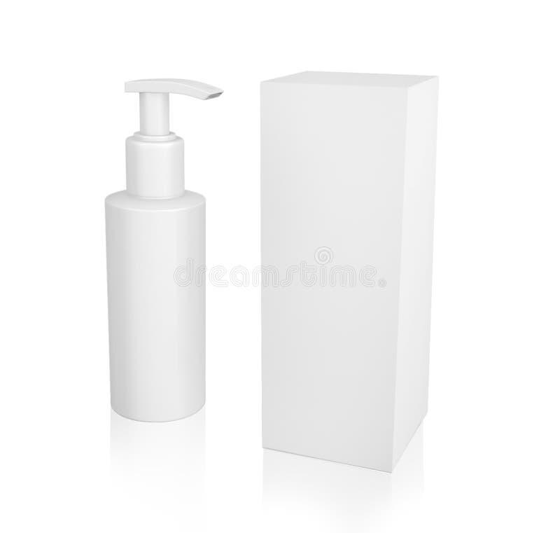 Recipientes brancos dos cosméticos, garrafa plástica com um pulverizador e caixa Vetor, garrafa com pacote ilustração royalty free