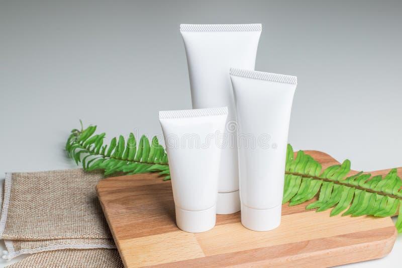 Recipientes cosméticos da garrafa com as folhas ervais verdes, etiqueta vazia foto de stock