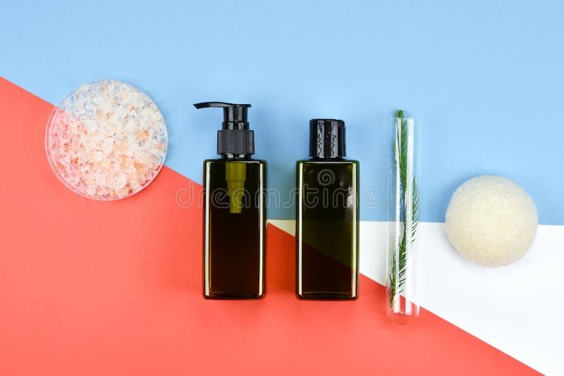 Recipientes cosméticos da garrafa, etiqueta vazia para o modelo de marcagem com ferro quente fotografia de stock