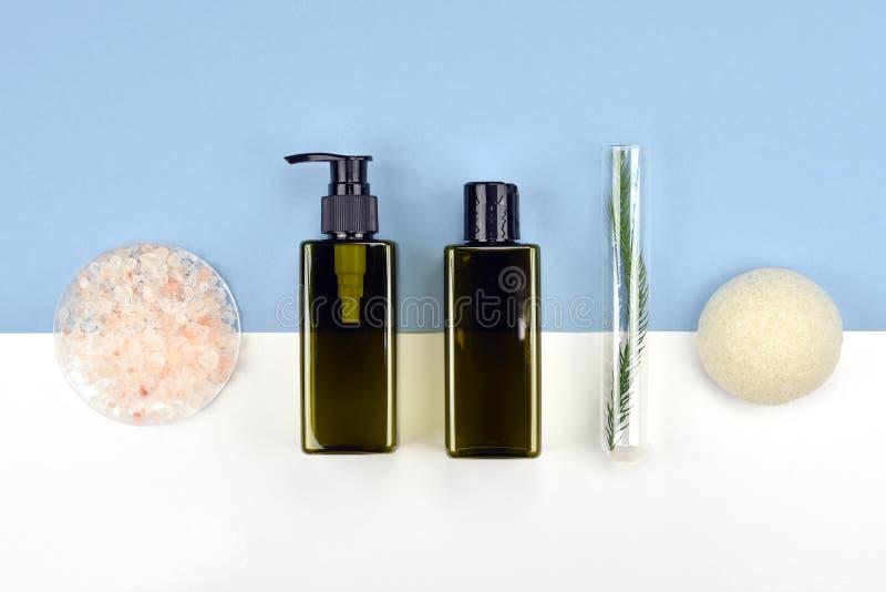 Recipientes cosméticos da garrafa, etiqueta vazia para o modelo de marcagem com ferro quente imagens de stock royalty free