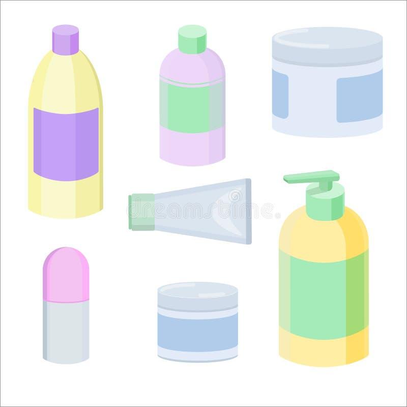 Recipientes cosméticos separados ilustração stock