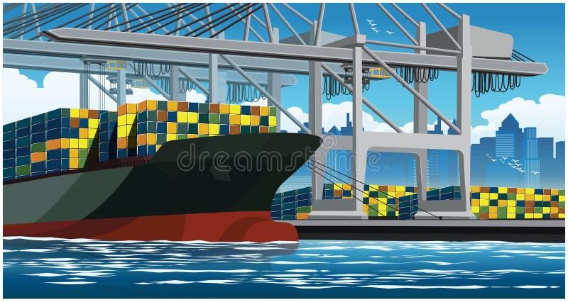 Recipientes da carga em um grande navio de recipiente ilustração royalty free