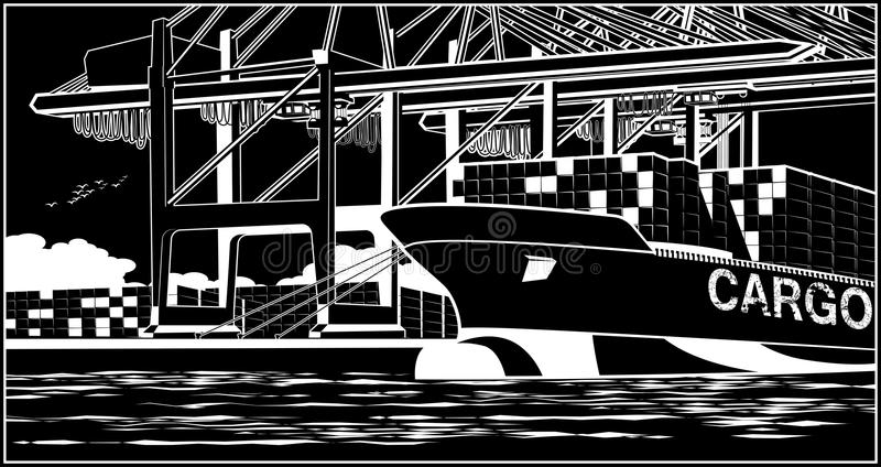 Recipientes da carga no navio de recipiente ilustração stock