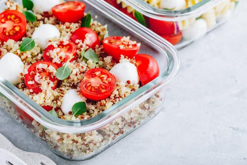Recipientes da lancheira da preparação da refeição do vegetariano com quinoa, mussarela, tomates e manjericão imagens de stock royalty free