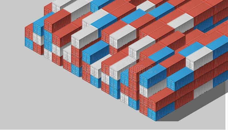 Recipientes de carga do transporte para logísticas e transporte ilustração royalty free