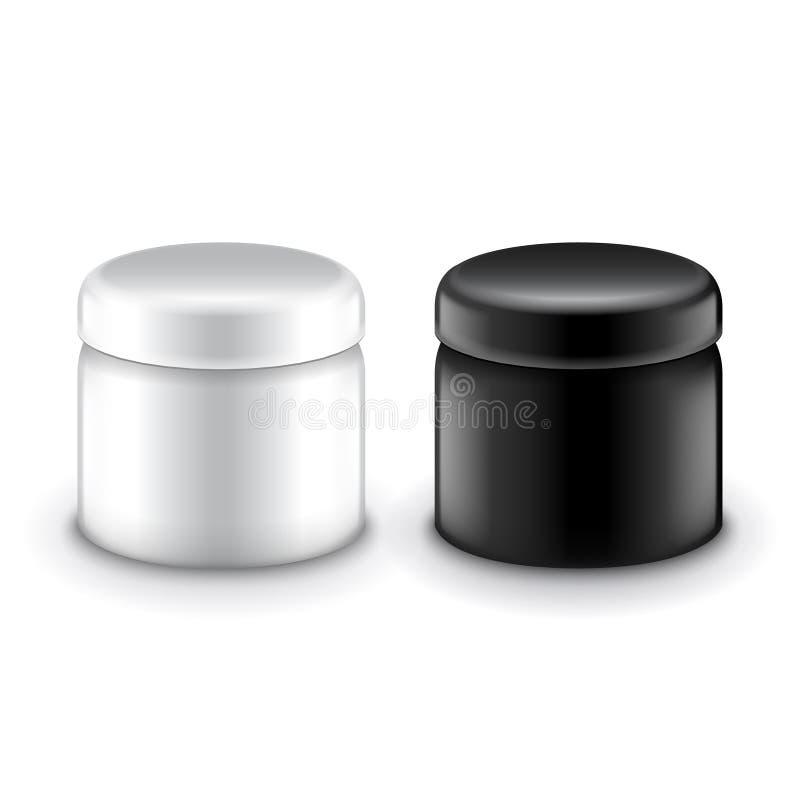 Recipientes de creme cosméticos isolados no vetor branco ilustração do vetor
