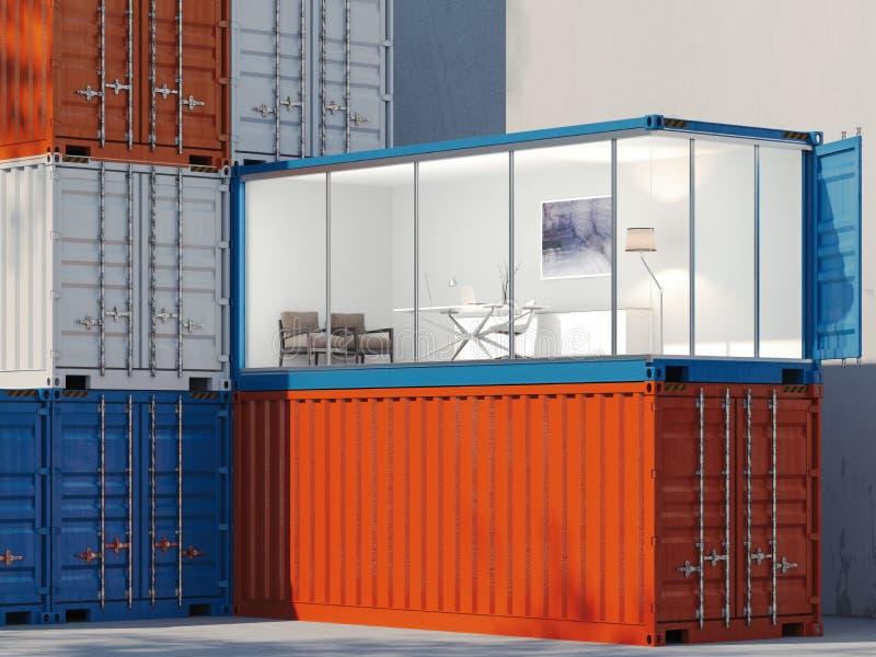 Recipientes de frete Um recipiente é convertido em um escritório rendição 3d ilustração stock