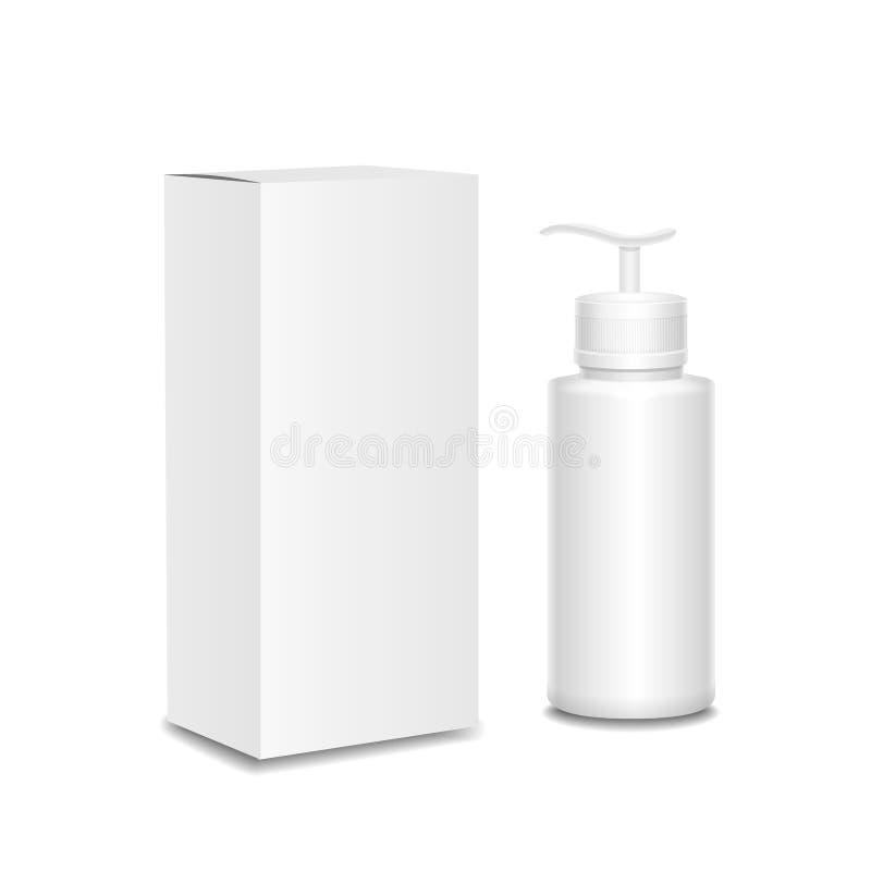 Recipientes dos cosméticos e pacote brancos, plástico ilustração do vetor
