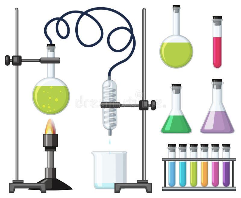 Recipientes e equipamentos diferentes da ciência ilustração do vetor