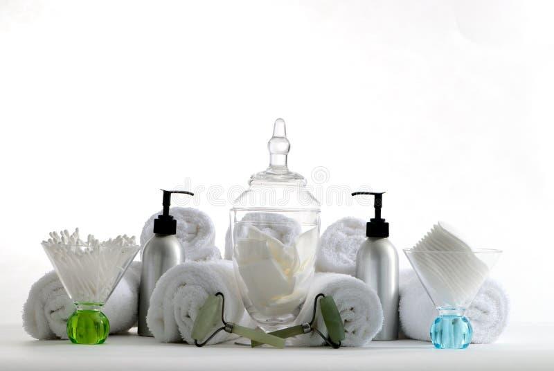 Recipientes e produtos dos termas fotografia de stock
