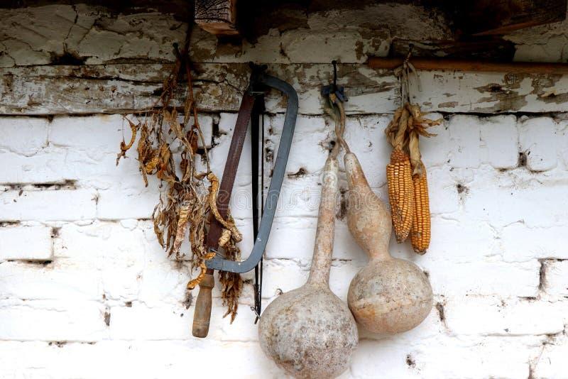 Recipienti, zucca, cereale asciutto e sega appendenti su una vecchia parete Comcept di agricoltura fotografia stock