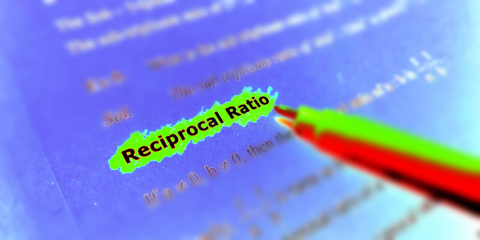 Reciprocal ratio text highlighted on green colour highlighted background illustrations image stock photography