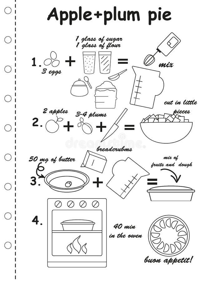 Recipte simple de tarte aux pommes avec icônes de schéma illustration libre de droits