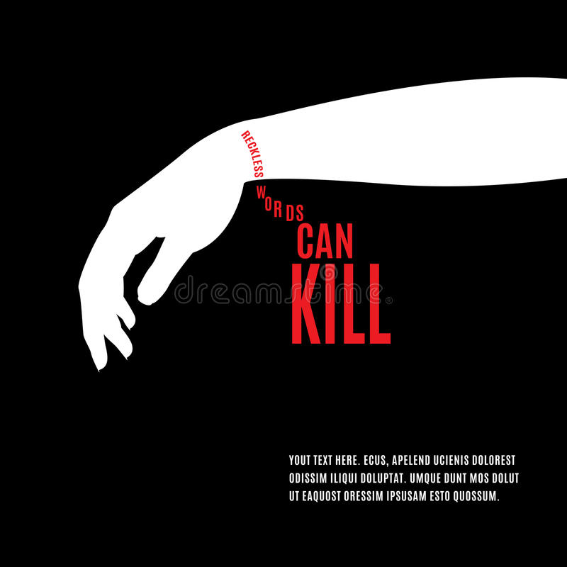 reckless words can kill  stock vector  illustration of teenager