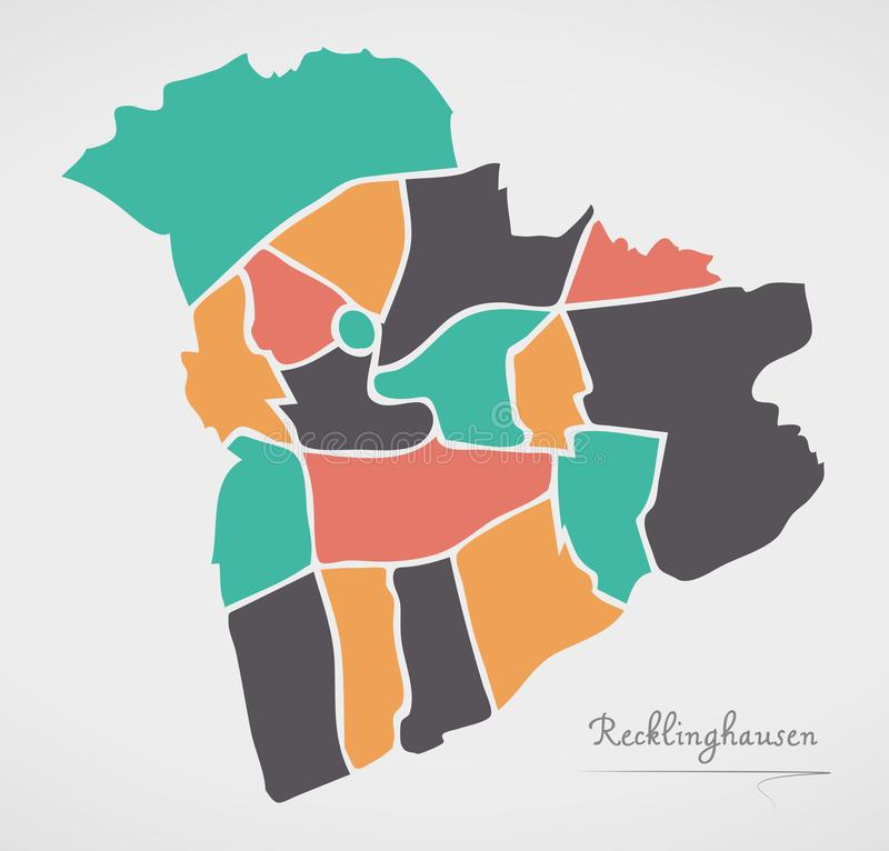 Recklinghausen Map with boroughs and modern round shapes. Illustration royalty free illustration
