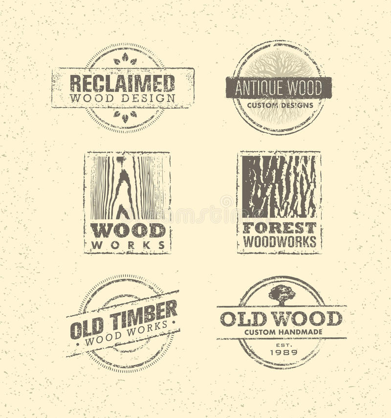 Reclaimed Wood Design Element. Creative Set Of Rustic Labels And Stamps For Custom Interior Workshop Company. stock illustration