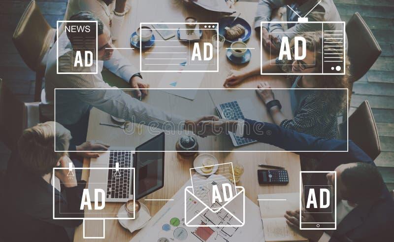 Reclame Commercieel Marketing Digitaal het Brandmerken Concept royalty-vrije stock afbeelding
