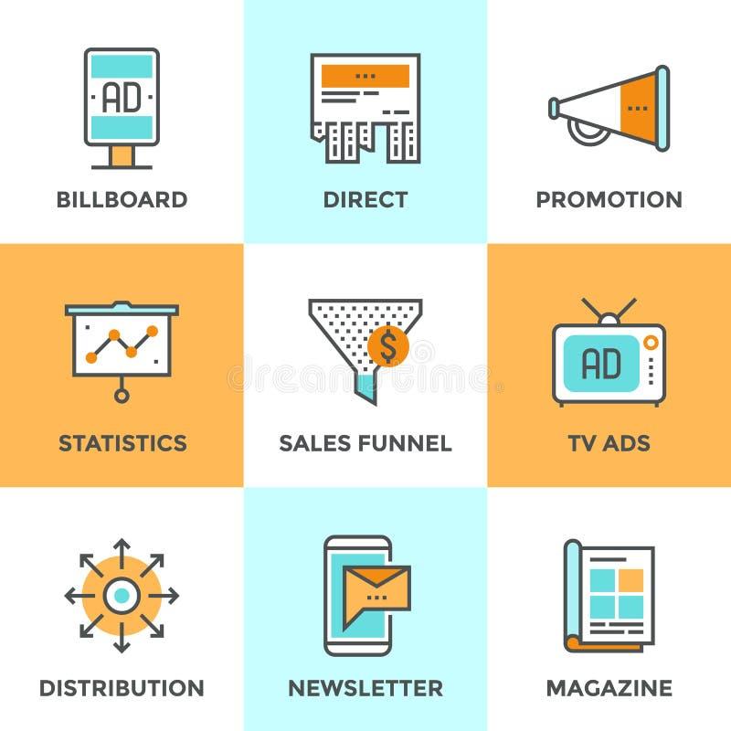 Reclame en marketing geplaatste lijnpictogrammen stock illustratie